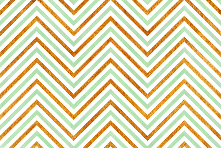 acryl: Watercolor mint green and acryl golden stripes background, chevron.
