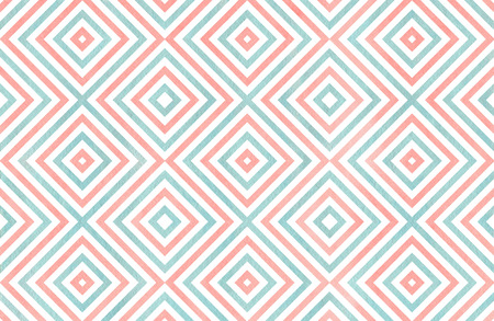Watercolor geometrical pattern in light pink and blue color. For fashion textile, cloth, backgrounds.