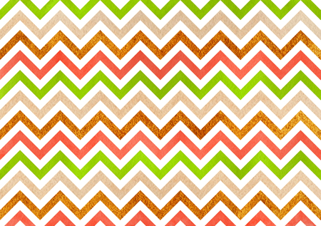 Watercolor lime green, salmon pink, beige and acryl golden stripes background, chevron.