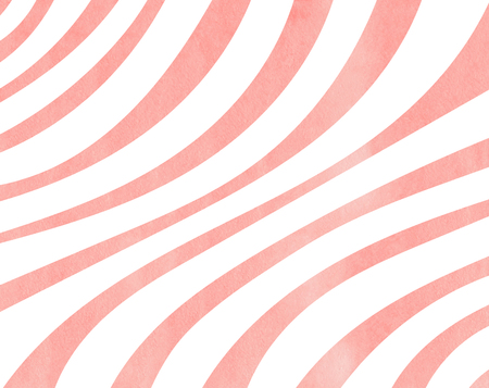 curved line: Watercolor light pink striped background. Curved line pattern. Stock Photo