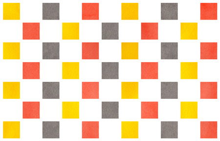 Watercolor yellow, salmon pink and gray square geometric pattern.