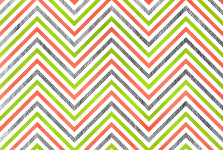 Watercolor lime geen, salmon pink and acryl silver stripes background, chevron.