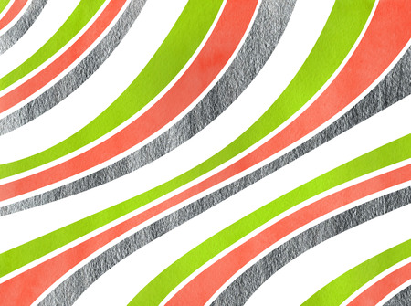 curved line: Watercolor lime geen, salmon pink and acryl silver striped background. Curved line pattern.