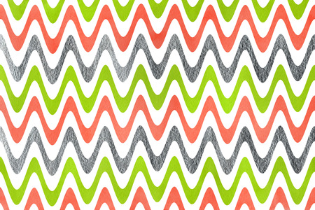 acryl: Watercolor lime geen, salmon pink and acryl silver stripes background, chevron.