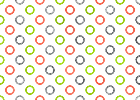 acryl: Watercolor lime geen, salmon pink and acryl silver circles on white background. Stock Photo