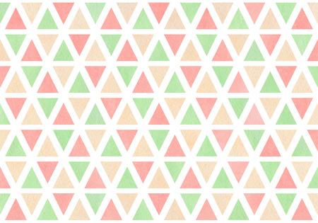 rhomb: Watercolor light pink, beige and mint green triangle pattern. Watercolor geometric pattern.