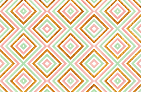 acryl: Watercolor geometrical pattern in pink, mint green and acryl golden color. For fashion textile, cloth, backgrounds. Stock Photo