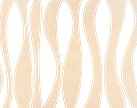 buff: Watercolor beige striped background. Curved line pattern. Stock Photo