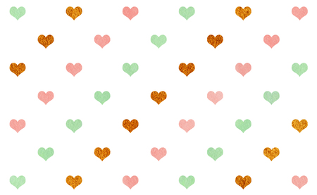 acryl: Watercolor pink, mint green and acryl golden hearts on white background pattern.