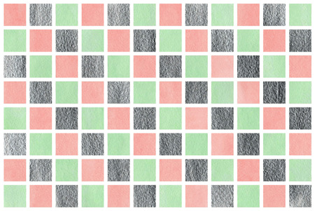 acryl: Watercolor pink, mint green and acryl silver square geometric pattern. Stock Photo