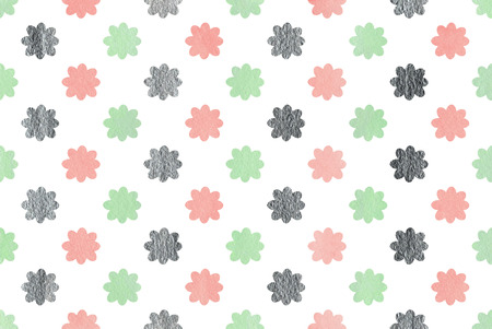 acryl: Watercolor pink, mint green and acryl silver flowers pattern.