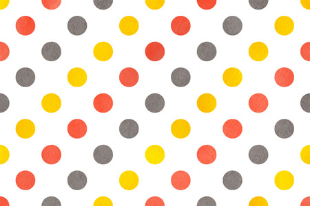 polkadot: Watercolor yellow, salmon pink and gray polka dot background. Pattern with dots for scrapbooks, wedding, party or baby shower invitations. Stock Photo