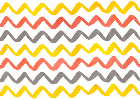 scraps: Watercolor yellow, salmon pink and gray hand painted stripes pattern, chevron. Stock Photo