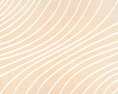 Watercolor beige striped background. Curved line pattern. Фото со стока