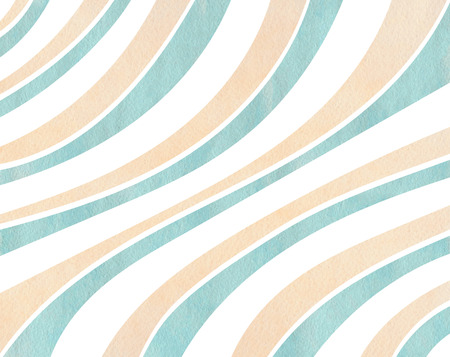 curved line: Watercolor blue and beige striped background. Curved line pattern.