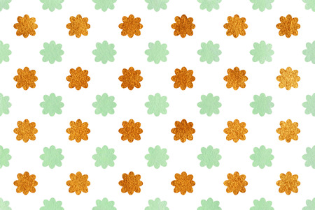 acryl: Watercolor mint green and acryl golden flowers pattern.