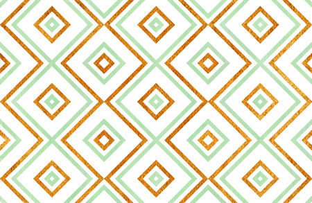 acryl: Watercolor geometrical pattern in mint green and acryl golden color. For fashion textile, cloth, backgrounds.