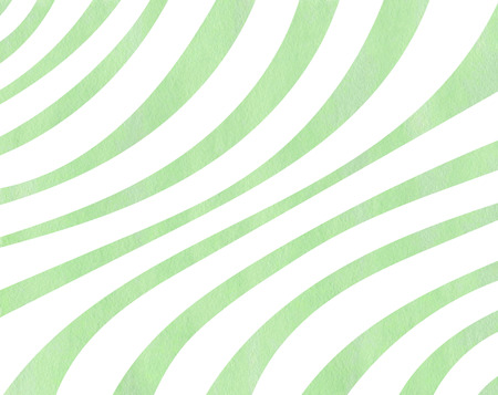 curved line: Watercolor mint green striped background. Curved line pattern. Stock Photo