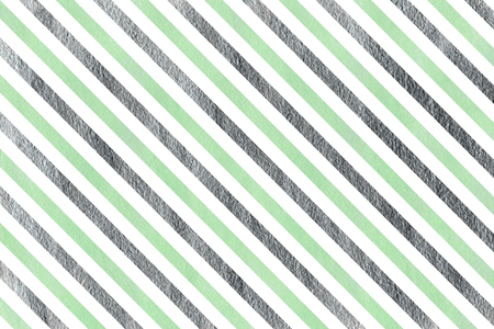 acryl: Watercolor mint and acryl silver striped background. Stock Photo