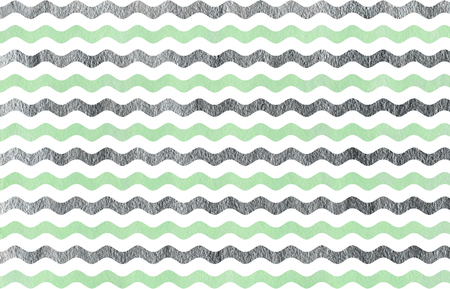 acryl: Abstract watercolor mint and acryl silver wavy striped pattern.