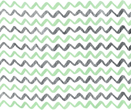 acryl: Watercolor mint and acryl silver hand painted stripes pattern, chevron. Stock Photo
