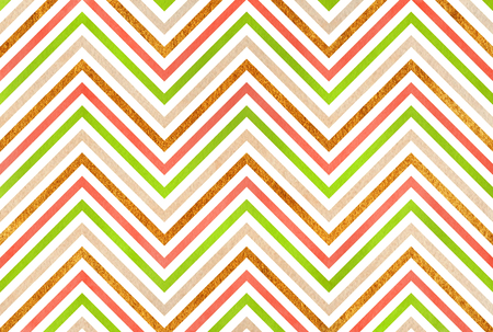 acryl: Watercolor lime green, salmon pink, beige and acryl golden stripes background, chevron.