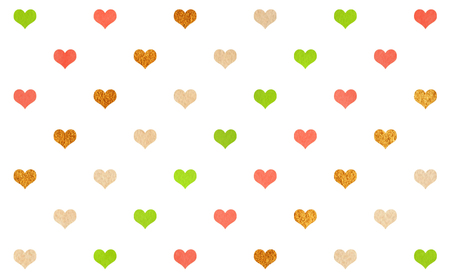 Watercolor lime green, salmon pink, beige and acryl golden hearts on white background pattern.