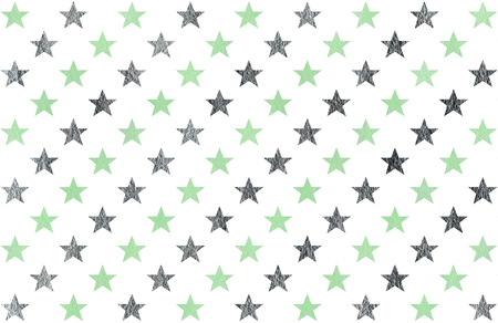 acryl: Watercolor pattern with mint and acryl silver stars on white background.