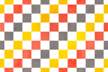 Watercolor yellow, salmon pink and gray square pattern. Geometrical traditional ornament for fashion textile, cloth, backgrounds. Stock Photo