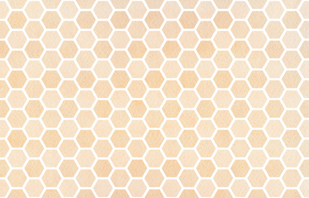 buff: Watercolor beige geometrical comb pattern. Hexagonal grid design. Stock Photo