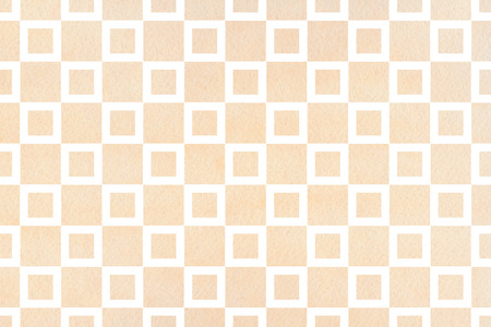 buff: Watercolor beige square pattern. Geometrical traditional ornament for fashion textile, cloth, backgrounds.