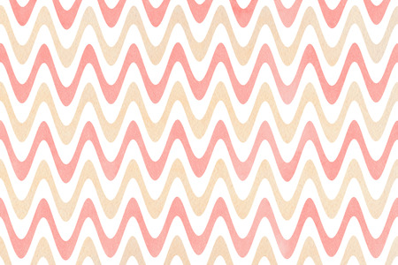 Watercolor light pink and beige stripes background, chevron. Watercolor geometric pattern. Stock Photo
