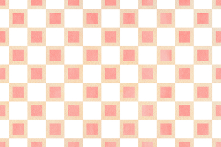 Watercolor light pink and beige square pattern. Geometrical traditional ornament for fashion textile, cloth, backgrounds. Stock Photo