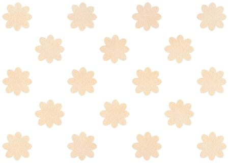 Watercolor beige flower pattern. Watercolor flowers on white background.