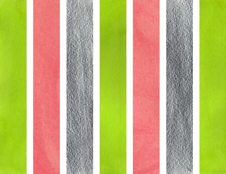 Watercolor lime geen, pink and acryl silver striped background. Stock Photo