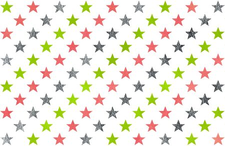 Watercolor pattern with lime geen, pink and acryl silver stars on white background.