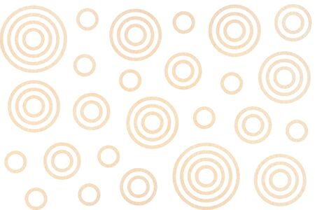 Watercolor beige circles on white background. Watercolor geometric pattern.
