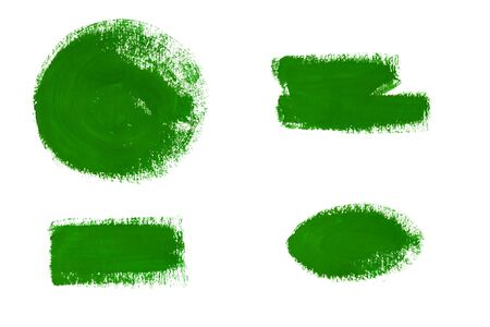 splotches: Collection of green gouache brush strokes isolated on white background. Green gouache paint stains and strokes. Bright vibrant color splotches