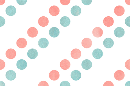 polkadot: Watercolor light pink and blue polka dot background. Pattern with colorful polka dots for scrapbooks, wedding, party or baby shower invitations. Stock Photo