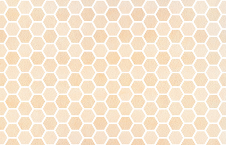 Watercolor beige geometrical comb pattern. Hexagonal grid design. Stock Photo