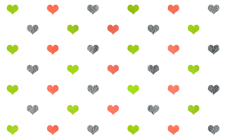 Watercolor lime geen, salmon pink and acryl silver hearts on white background pattern.