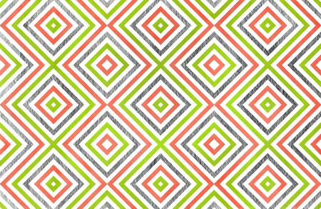 Watercolor geometrical pattern in lime geen, salmon pink and acryl silver color. For fashion textile, cloth, backgrounds.