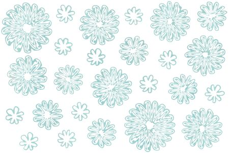 Watercolor blue abstract flowers on white background.