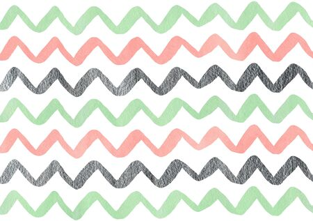 Watercolor pink, mint green and acryl silver hand painted stripes pattern, chevron.