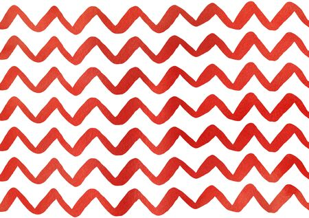 Watercolor red hand painted stripes pattern, chevron. Stock Photo