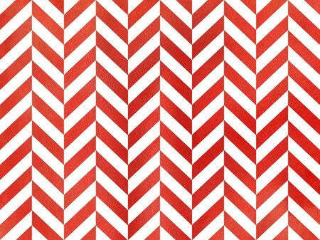 Watercolor red stripes background, chevron. Watercolor geometric pattern