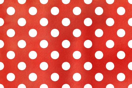 ruddy: Watercolor red polka dot background. Pattern with white polka dots for scrapbooks, wedding, party or baby shower invitations.