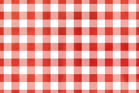 ruddy: Watercolor red checked pattern. Geometrical traditional ornament for fashion textile, cloth, backgrounds. Stock Photo