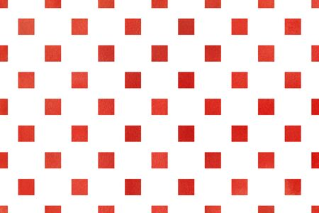ruddy: Watercolor red square pattern. Geometrical traditional ornament for fashion textile, cloth, backgrounds.