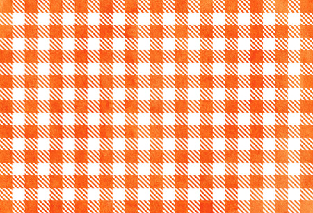 Watercolor orange checked pattern. Geometrical traditional ornament for fashion textile, cloth, backgrounds. Stock Photo